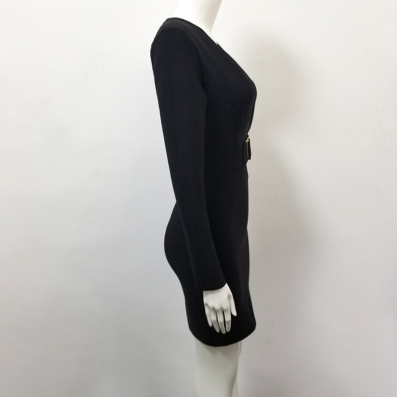 Manica Una Dalla Con Nero Partito Il C Scollo Del 08 Sexy Mini Fasciatura V Rayon Womwn Sera A Lunga Spalla Di Vestito Afw58ttq