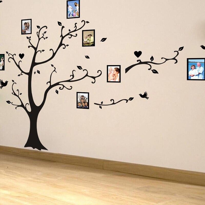 Grande taille 200*260cm coloré bricolage photo vinyle stickers muraux arbre pour salon chambre art mural papier peint décor à la maison