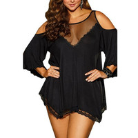 Solid Sexy Sleepwear Plus Size 4XL See Through Women Lingerie Babydoll Dress Big Size Sexy Lingerie