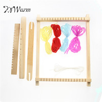 KiWarm New Mini DIY Traditional Wooden Weaving Toy Loom Handmade Knitting Machine with Accessories Childrens Craft Box