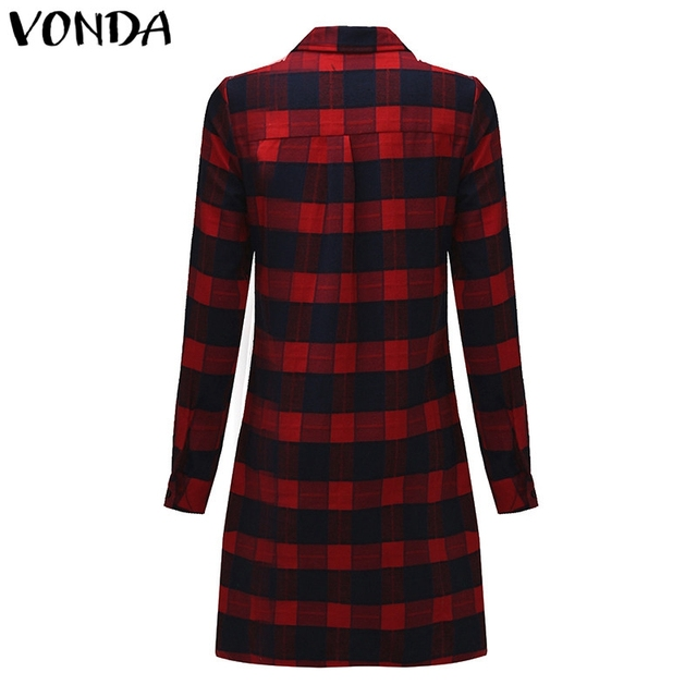 VONDA Pregnant Women Plaid Blouse Shirts 2018 Spring Fall Vintage Lapel Long Sleeve Pregnancy Tops Plus Size Maternity Clothings 1