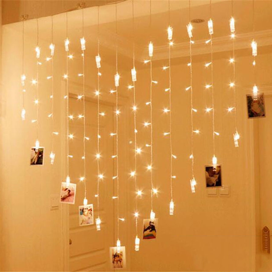 Thrisdar 2X1.5M Card Photo Clips Led Curtain String Lights 128LED 34 Drop Fairy String Light Garland Christmas Wedding Light