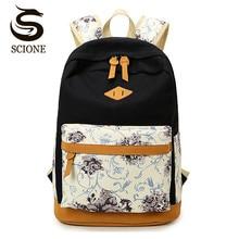Hot Nubuck Leather Backpack Canvas School Backpacks Schoolbags for Teenage Girls Student Flower Printing Back Pack Travel Bag