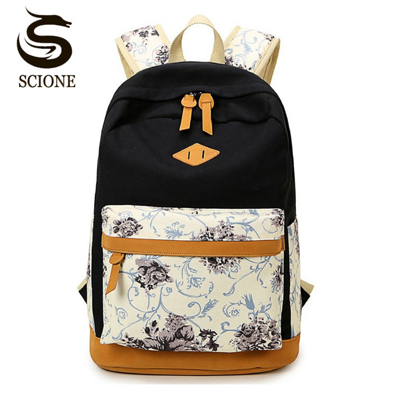 Scione Nubuck Leather Backpack Canvas School Backpacks Schoolbags for Teenage Girls Student Flower Printing Back Pack Travel Bag women backpack 3pcs set canvas printing preppy style school bag for teenage girls backpack travel back pack mochila escolar