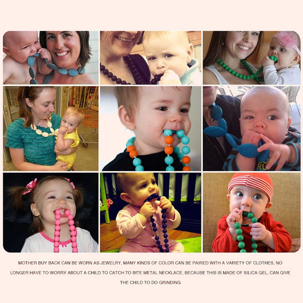 Silicone Teething Nursing Breastfeeding Necklace Chewing for Infant Toddlers Baby Teether Soother Toy 9Colors
