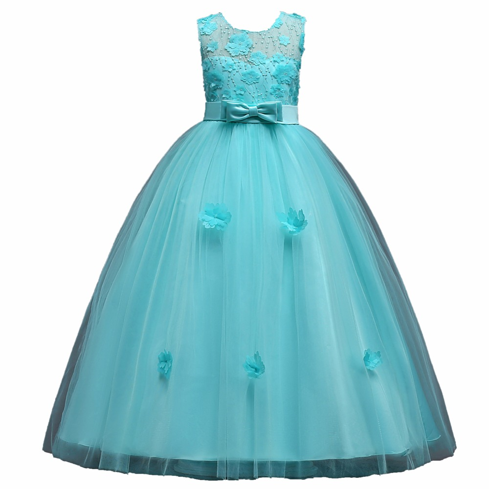 2-14 Year Kids Girls Model T Stag Flower Dress Princess Party Pageant Formal Dress Girl Lace Wedding Long Dress Piano Costumes long criss cross open back formal party dress