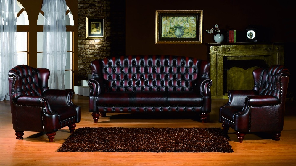 Sofa Chesterfield Living-Room-Furniture Antique-Design Genuine-Leather Foam Modern Leisure