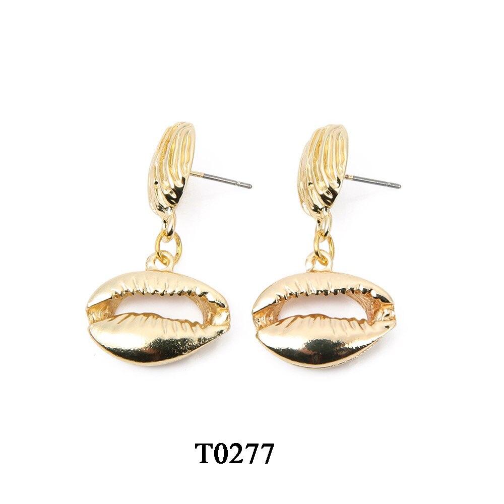 T0277A,合金贝壳吊坠耳环,大约19X35mm