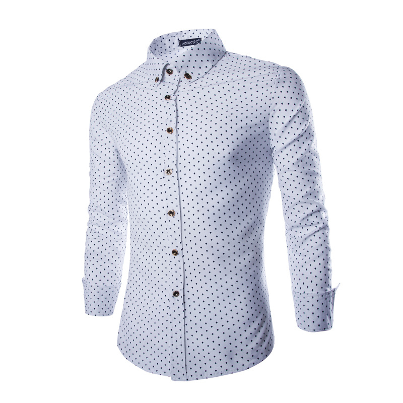 Men White Navy Polka Dot Shirt Promotion-Shop for Promotional Men ...