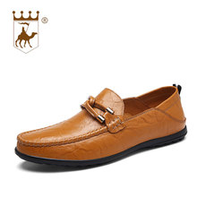 BACKCAMEL Mens Leather Shoes Lazy Peas Male Casual Driving Two Wear Comfort Footwear Breathable Top Large Size38-47