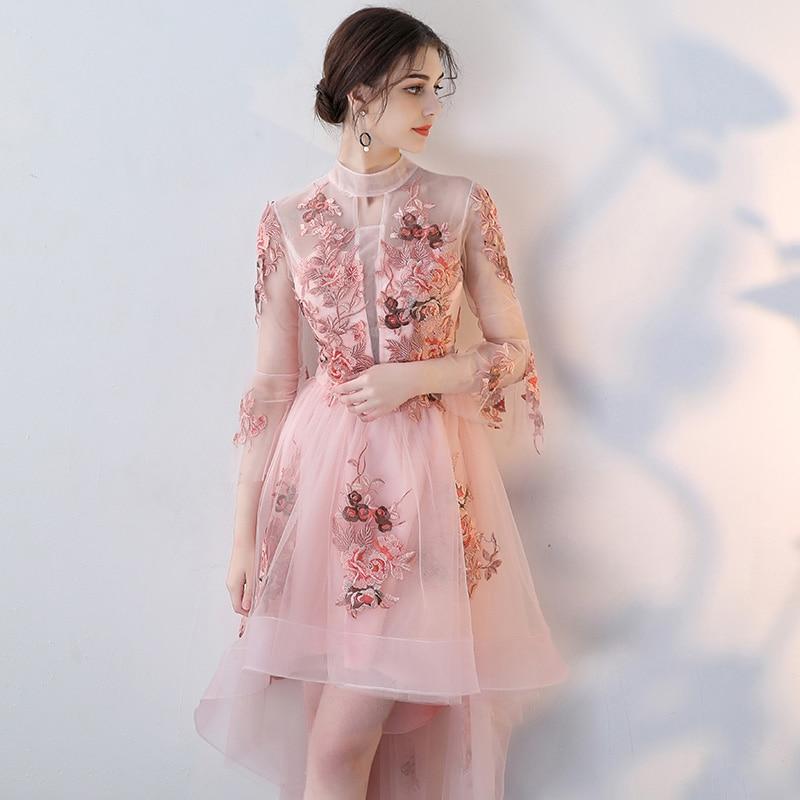 High Neck Celebrity 2018 vestido de festa Knee-Length Celebrity Elgent Three Quarter Sleeves vestido longo Vintage Candy Color