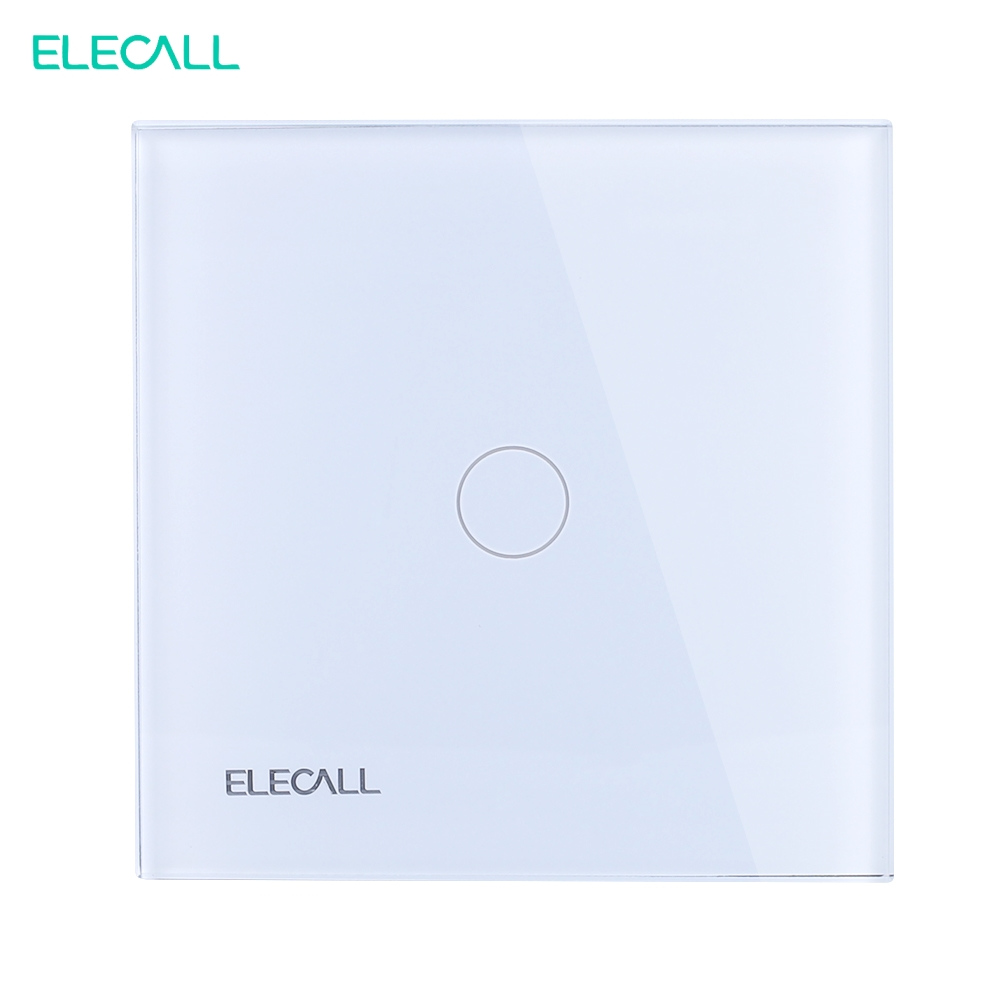 ELECALL 1-gang 2-way Touch Screen Light Switch, White Crystal Glass Panel SK-A801-02EU Touch light switch smart home eu touch switch wireless remote control wall touch switch 3 gang 1 way white crystal glass panel waterproof power