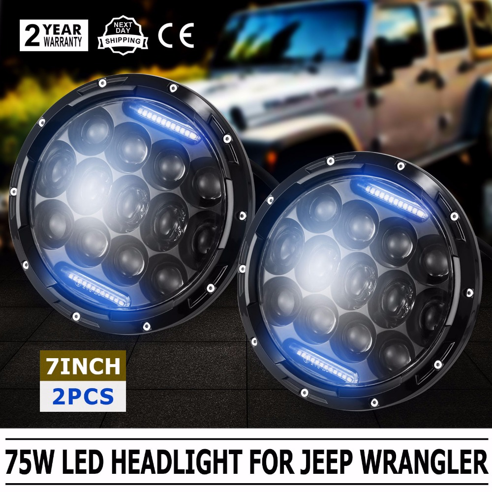 2X 7Inch 75W LED Headlight H4 H13 DRL HIGH LOW Beam for JEEP CJ JK TJ Wrangler (Fits: Jeep Wrangler) whdz 1pc round 7inch 75w round led headlight hi low beam head light with bulb drl for jeep wrangler tj lj jk cj 7 cj 8 scrambler