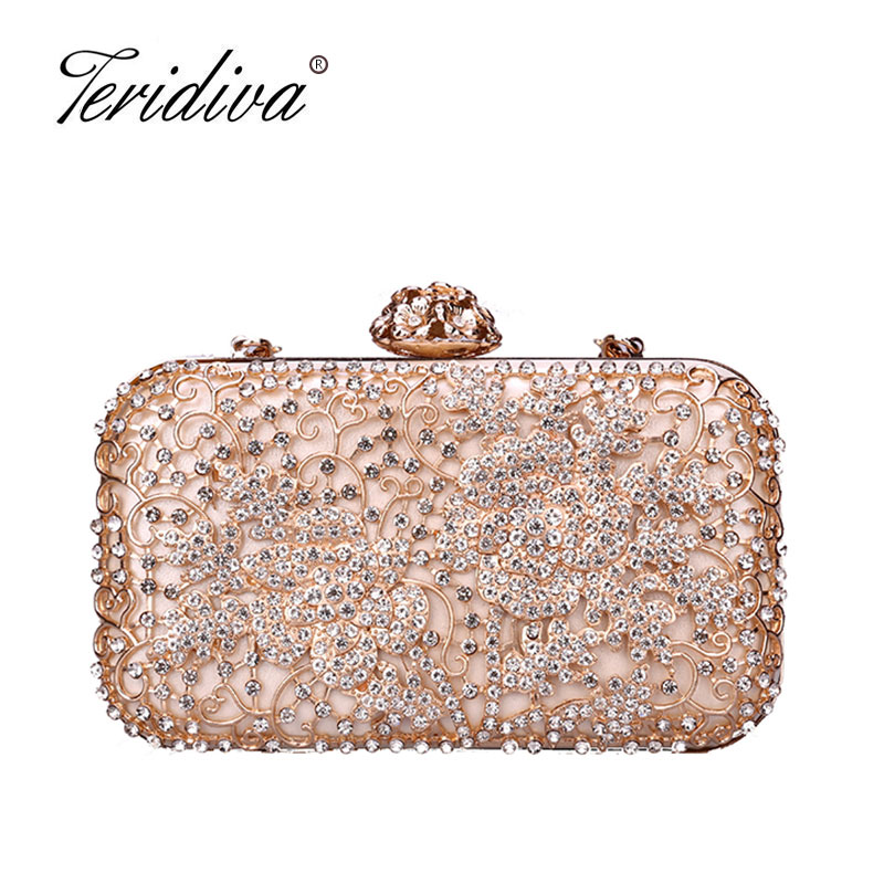 Fashion Box evening bag diamond flower Clutch Bag hollow relief Acrylic luxury handbag banquet party purse