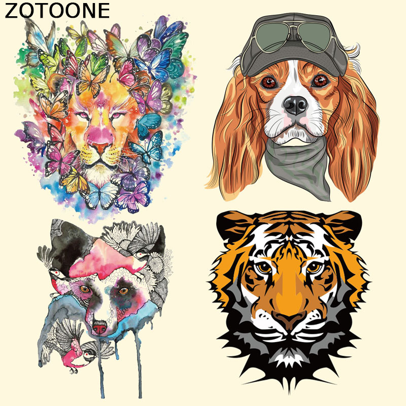 ZOTOONE Colorful Tiger Patch Iron on Transfer Patches for Clothes Cartoon Aniaml Stripes Custom Stickers Applique T-shirt