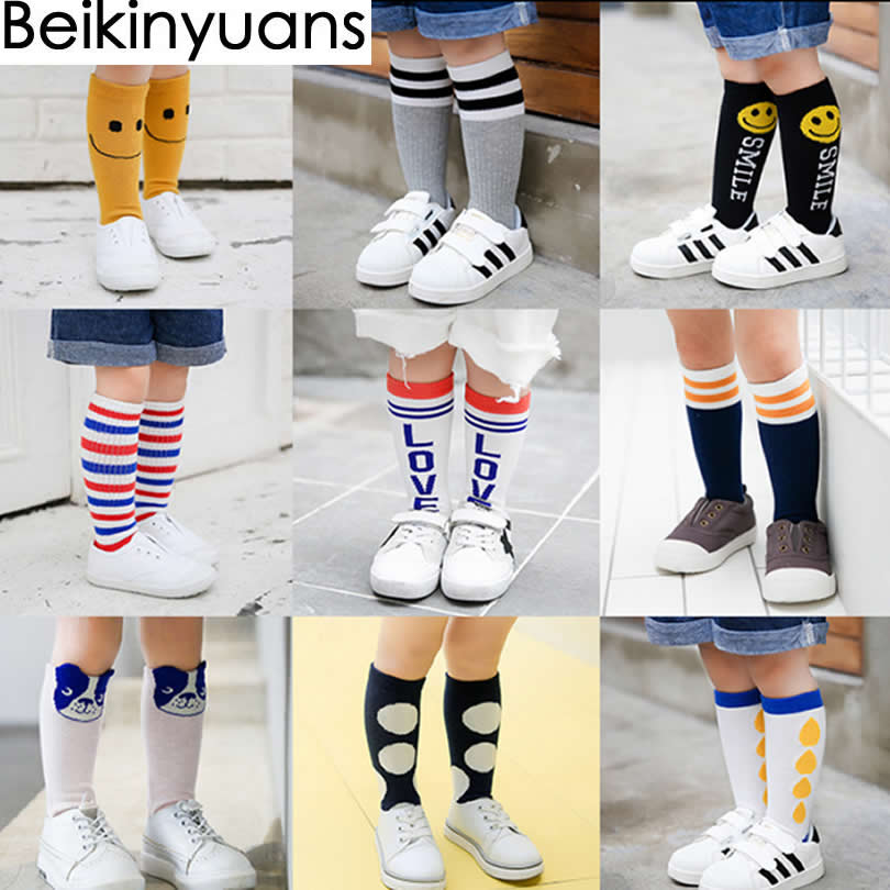 Girl Socks Meias Infantil Knee High Cute Baby Socks Long Tube Booties Vertical Striped Sokken Children's Sock