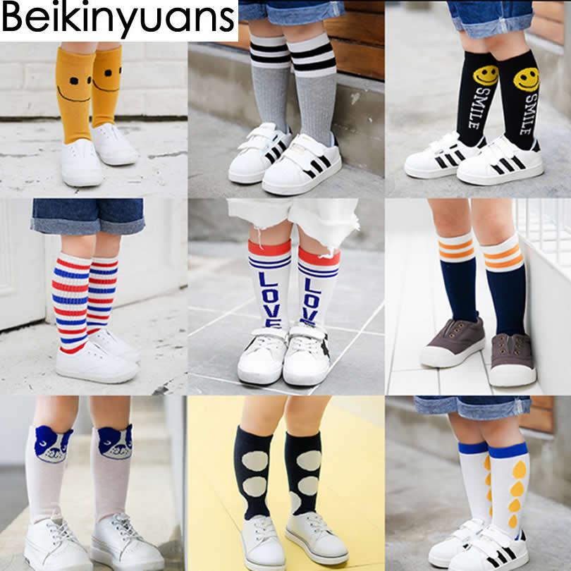 Girl Socks Meias Infantil Knee High Cute Baby Socks Long Tube Booties Vertical Striped Sokken Children's Sock