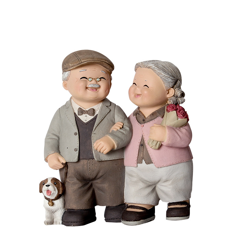 Happiness Grandfather Grandmother Couple Decoration Crafts Gifts Creative Resin Figurines Home Decoration Accessories Modern Счастье