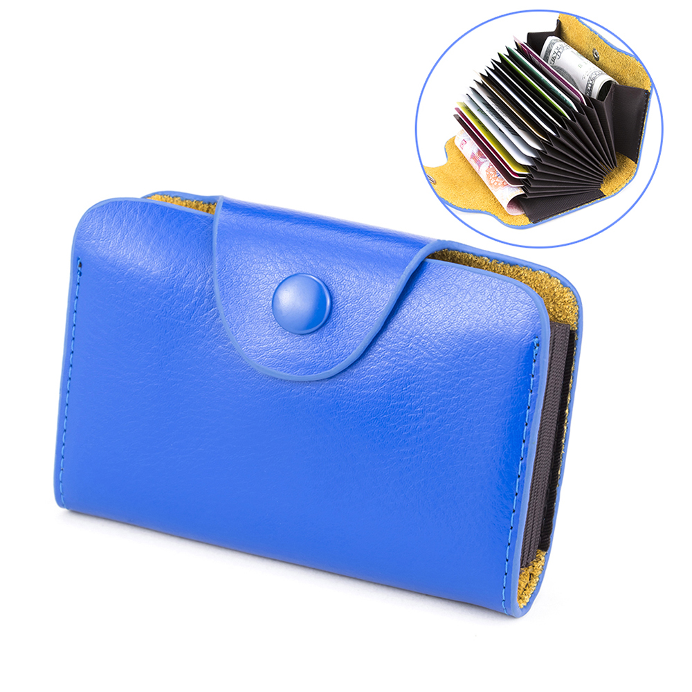 Fashion Unisex Hasp Card Holders Minimalist Blue Card Case for Credit Card Bag Men and Women Organ Style Card Wallet