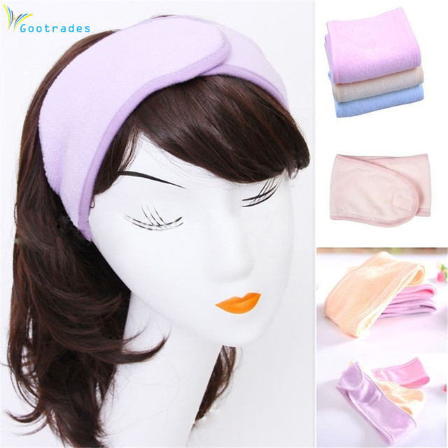 gootrades 2017 New Pink Spa Bath Shower Make Up Wash Face Cosmetic Headband Hair Band Accessories Sale