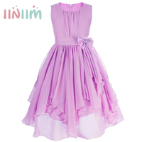 Iiniim Girls Party Dresses For Teenagers Flowers Bridesmaid Toddler Elegant Sleeveless Dress Children Clothing 8 Color
