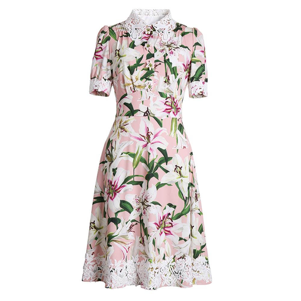Red RoosaRosee Fashion Runway Women Flower Buttons Dress Vintage Print Short Sleeve Elegant Boutique Dresses Party