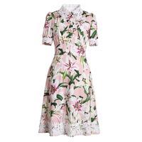 Red RoosaRosee Fashion Runway Women Flower Buttons Dress Vintage Print Short Sleeve Elegant Boutique Dresses Party Vestidos Robe