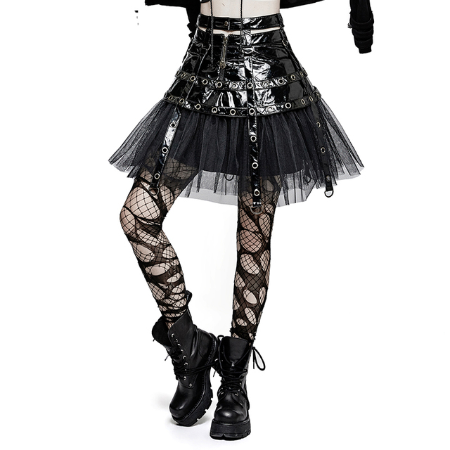 2017 Summer Steampunk Japanese Mini Skirts Black Leather Spliced Gothic Punk Ball Gown For Women Short