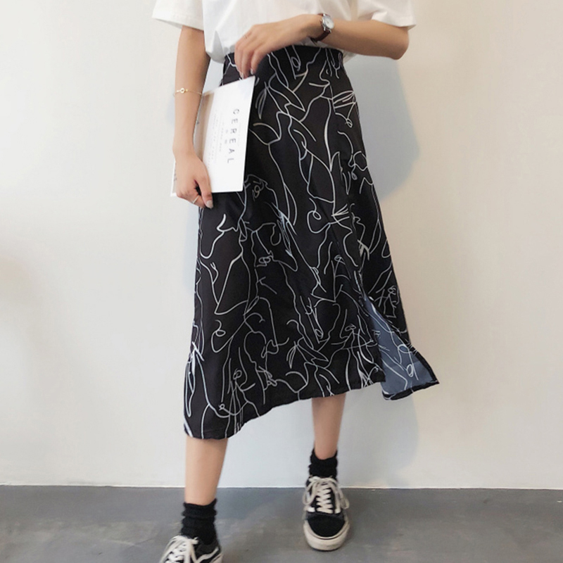 2018 Summer Women Hand-painted Midi Skirts Korean Chic High Waist Abstract Printed Midi Skirt Elastic Waist Split Black Skirst
