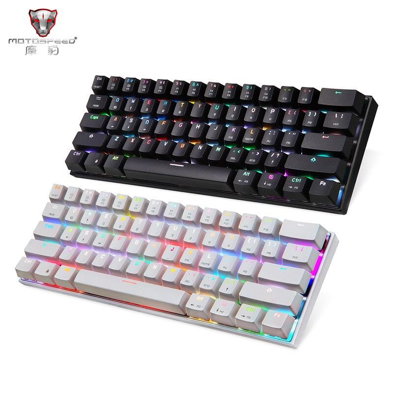 MOTOSPEED CK62 filaire Bluetooth double Mode clavier de jeu clavier mécanique avec boîte 7 couleurs RGB rétro-éclairage bleu et rouge commutateur