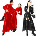 Ladies or Man Sexy Lingerie Catwoman Black faux leather pvc gothic Split  Long Dress Halloween fancy dress P0078 S--XL