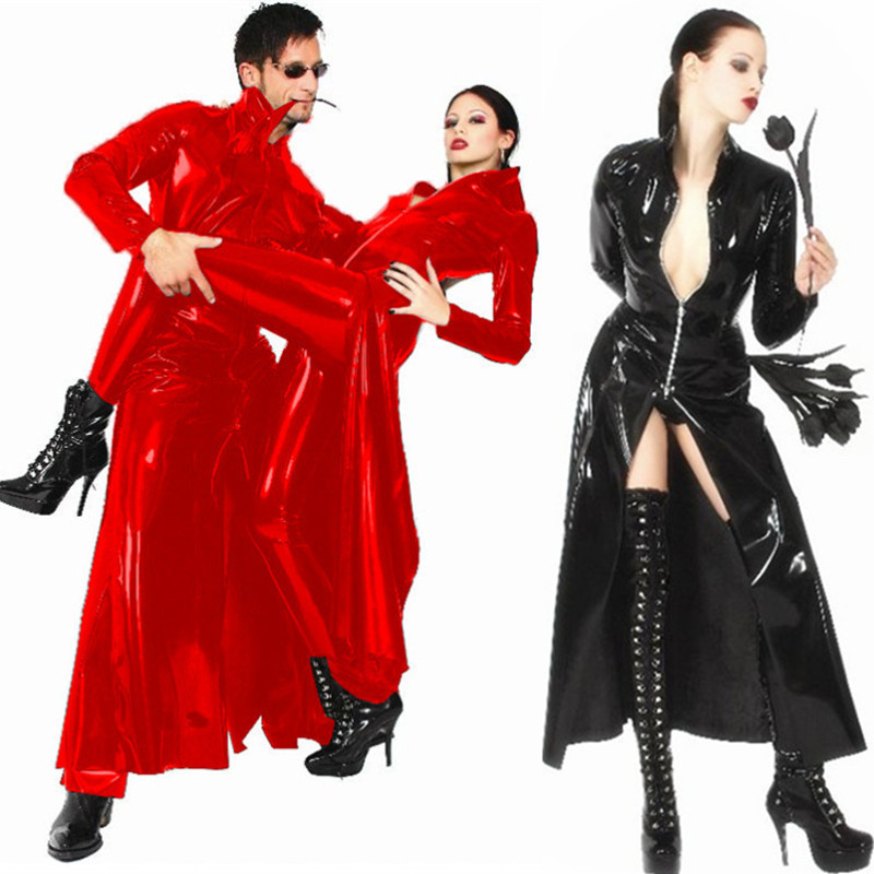 Ladies or <font><b>Man</b></font> <font><b>Sexy</b></font> Lingerie Catwoman Black faux leather pvc gothic Split Long Dress <font><b>Halloween</b></font> fancy dress X637 S--XL image