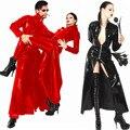 Senhoras ou homem Sexy Catwoman pvc gótico de couro falso preto dividir vestido longo Halloween máscara P0078 s - xl