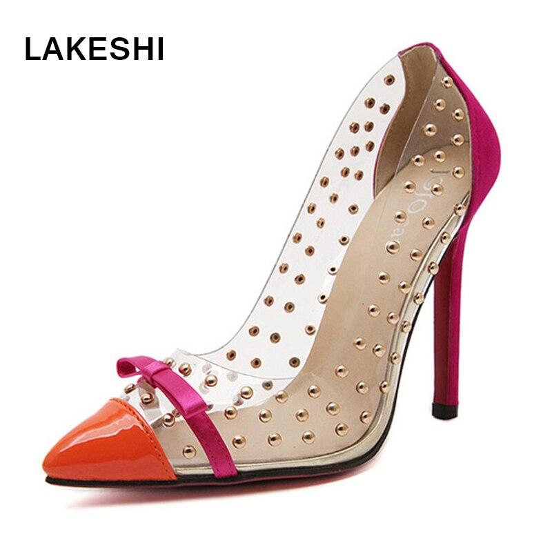 Rivets High Heels 2017 Brand Shoes Pointed Toe Women Pumps Sapato Feminino Shoes Plus Size mavirs high heels hot sale spring brand women pointed toe shoes flock ladies pumps glitter suqare heels sapato feminino plus 653