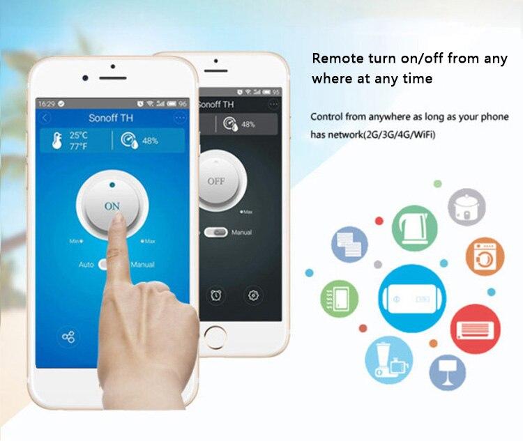 Sonoff TH 16A WiFi surveillance intelligente sans fil de la température et de l'humidité du commutateur pour la maison intelligente - 5