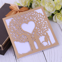 Eleva Love Tree design laser cut takke kort, søde 16 party dekorationer bryllup invitationer fest favoriserer klistermærker sæt