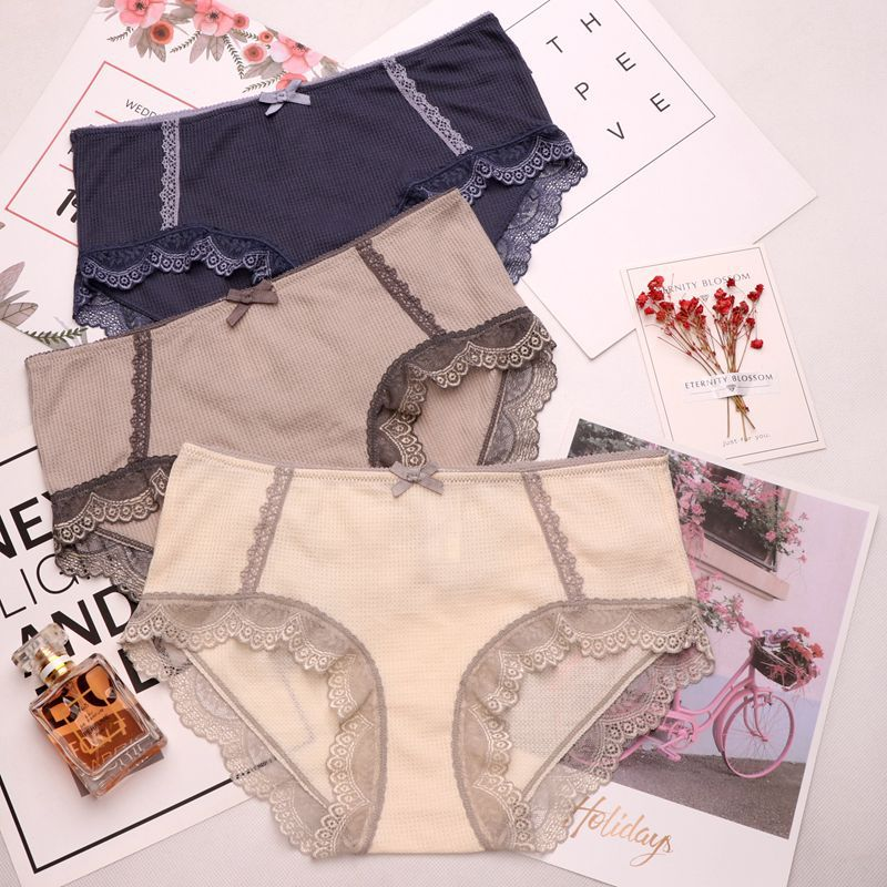 SP&CITY Cute Bow Lace Panties Sexy Cotton Briefs High Rise Seamless Solid Underwear Women Soft Lingerie Menstrual Underwear