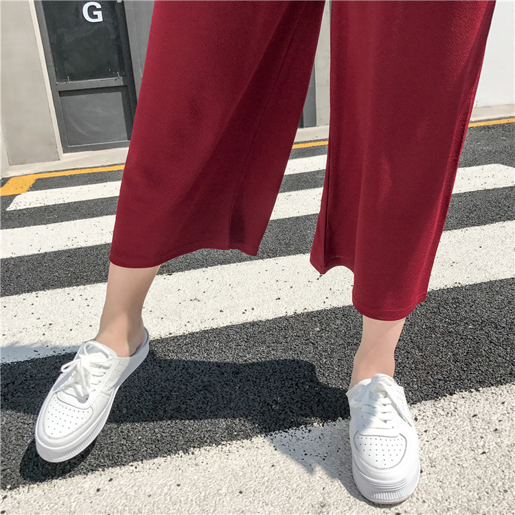 19 Women Casual Loose Wide Leg Pant Womens Elegant Fashion Preppy Style Trousers Female Pure Color Females New Palazzo Pants 68