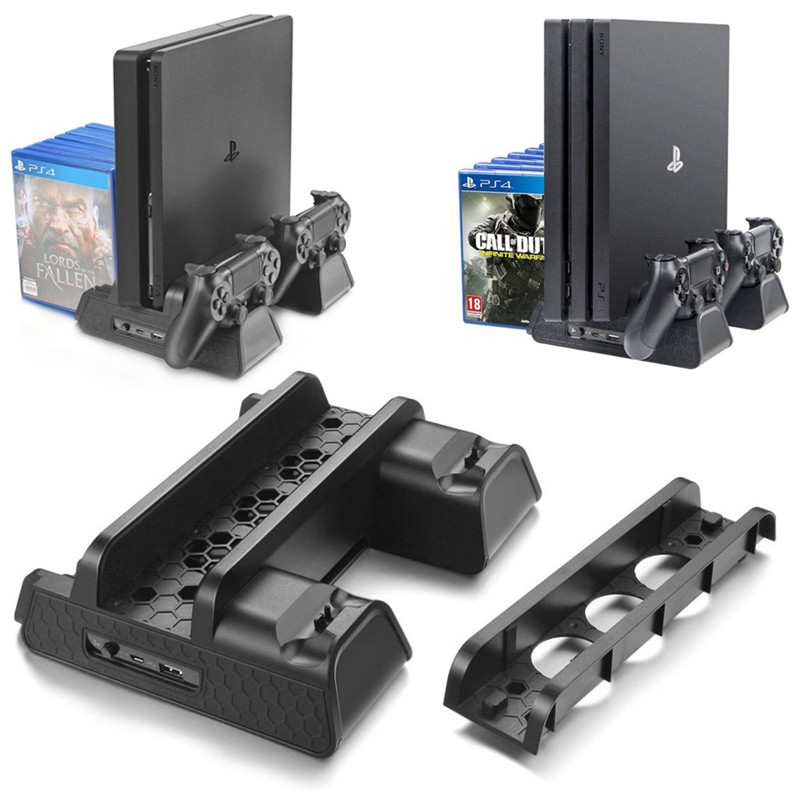 PS4/PS4 Slim/PS4 PRO Vertical Stand with Cooling Fan Cooler Dual Controller Charger Charging Station for Playstation 4 Console