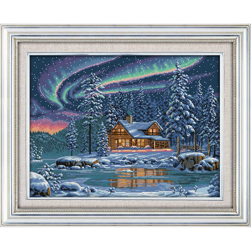 Everlasting love  Christmas The aurora borealis Ecological cotton chinese Cross Stitch kits  11CT  14CT  Printed Home Decoration