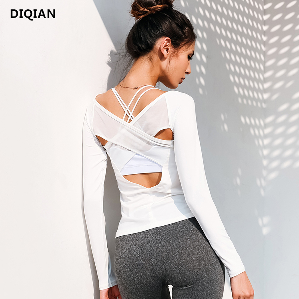 Women Open Back Yoga Top Shirts White Mesh Cross Back Sport Shirt Long Sleeve Backless Yoga Fitness Workout Gym Running T-Shirts