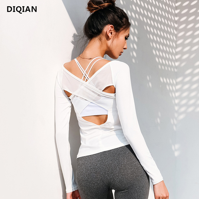 d3481911af13d Women Open Back Yoga Top Shirts White Mesh Cross Back Sport Shirt Long  Sleeve Backless Yoga Fitness Workout Gym Running T-Shirts