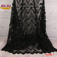 Nigerian Lace Fabrics 2018 High Quality Lace African Beaded Tulle Lace Fabric Embroidery French Lace Fabric For Dress XY1629B 1