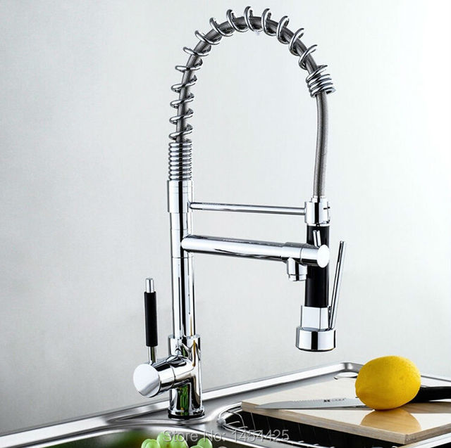Single lever Kitchen faucet pull out Swivel Spout Vessel Sink Mixer ...