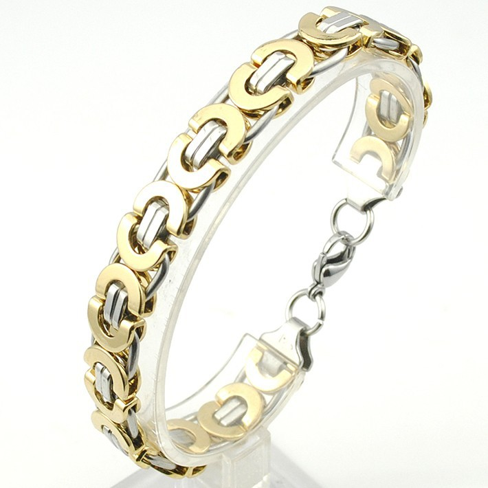 6/8/11mm Friendship Gold Color Flat Byzantine Stainless Steel Bracelet Motorcycle Biker Mens Chain Wholesale Male Boys