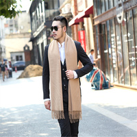 2016 Autumn New Casual European Style Fringed Cashmere Warm Winter Tassel Scarf Monochrome Nap Men Gift