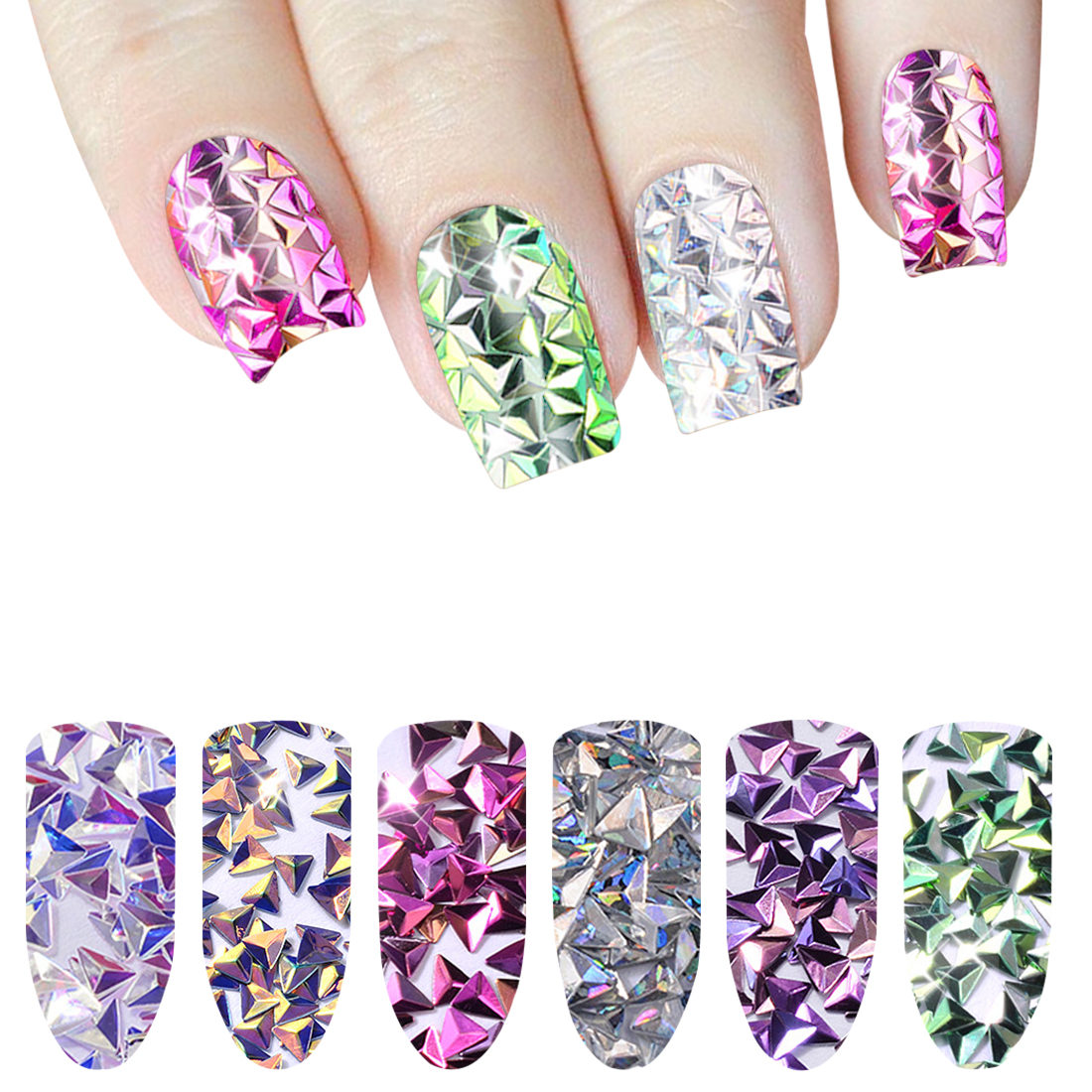 6 Boxes Laser Silver Nail Glitter Sequins Dust Mixed Rhombus Shape Tips DIY Charm Polish Flakes Decorations Manicure in Nail Glitter from Beauty Health