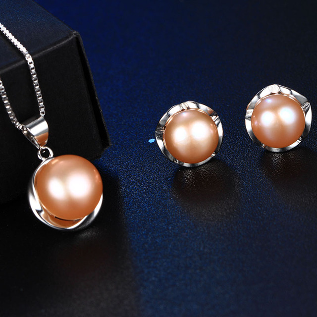 925 Sterling Silver Jewelry Set with Natural Freshwater Pearls, Necklace and Earrings