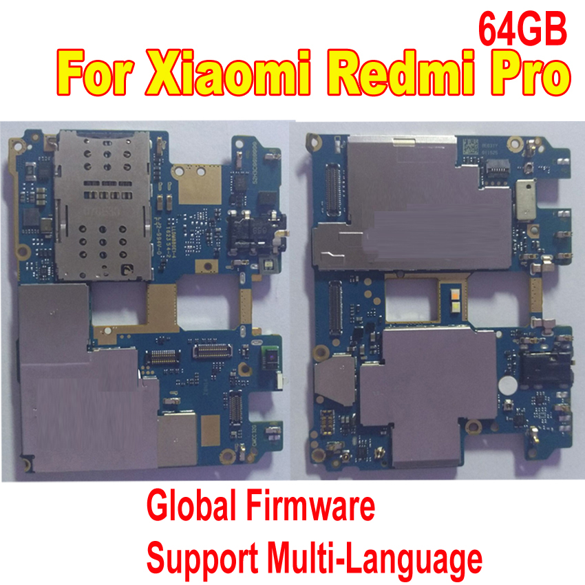 Original Tested Work Mainboard For Xiaomi Redmi Pro Hongmi Pro 64GB Unlocked MotherBoard Global Firmware Circuits Fee Flex CableOriginal Tested Work Mainboard For Xiaomi Redmi Pro Hongmi Pro 64GB Unlocked MotherBoard Global Firmware Circuits Fee Flex Cable