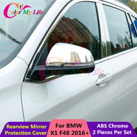 2 Pcs Set ABS Chrome Car Rearview Mirror Protection Cover Rear View Mirror Sticker For BMW